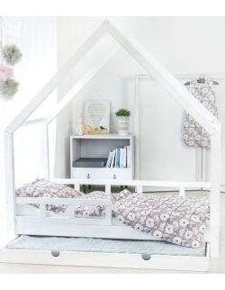 Łóżko Domek Maya dla dzieci drewniane 90x200 100x200 biały,szary, rózówy Barierki Szuflada drugie spanie