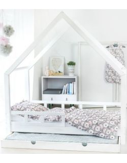 Łóżko Domek Maya dla dzieci drewniane 90x190 80x190 biały,szary, rózówy Barierki Szuflada drugie spanie