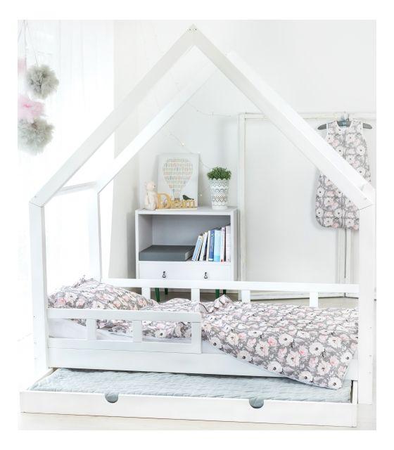 łóżko Domek Maya Dla Dzieci Drewniane 90x190 80x190 Białyszary Rózówy Barierki Szuflada Drugie Spanie Woodlook