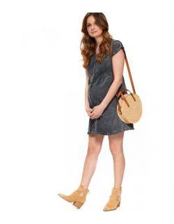Szara casualowa sukienka dla kobiet w ciąży i karmiących piersią