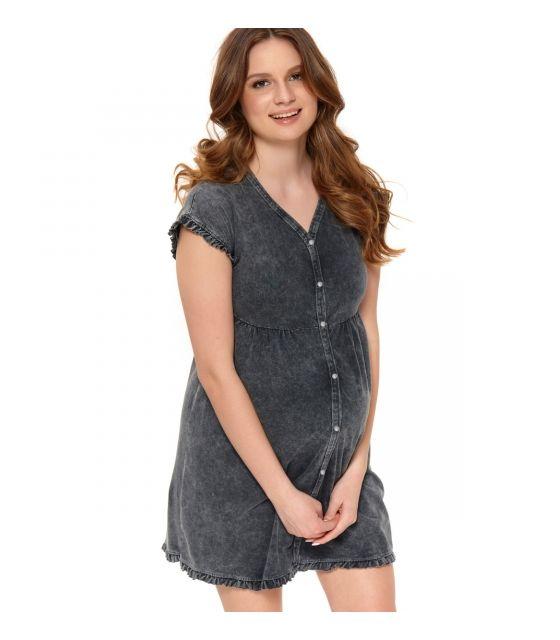 fc102df6d9232b Szara casualowa sukienka dla kobiet w ciąży i karmiących piersią ...