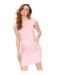 Różowa sukienka ciążowa z bawełny organicznej