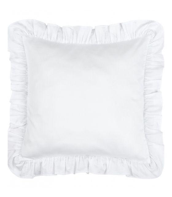 poduszka falbanka biała