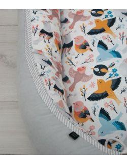 Starter niemowlęcy Spring Birds: kokon + pościel + rożek