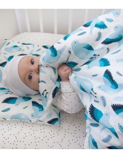 Starter niemowlęcy Birds: kokon + pościel + rożek