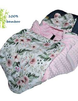 Śpiworek/ Kocyk do fotelika BAMBUSOWY In Garden& kropki róż