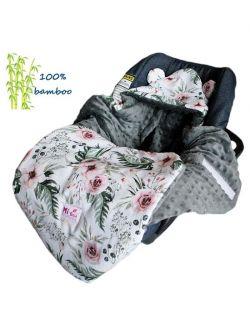 Śpiworek/ Kocyk do fotelika BAMBUSOWY In Garden& grey dots