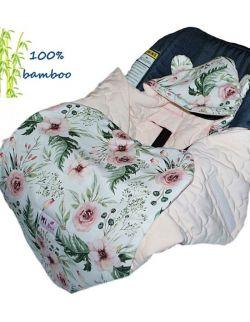 Śpiworek/ Kocyk do fotelika BAMBUSOWY In Garden& velvet pink