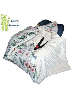 Kocyk do fotelika Bambusowy zimowy In Garden& cream dots