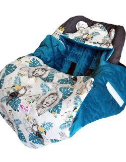 Śpiworek/ Kocyk do fotelika Jungle& velvet blue