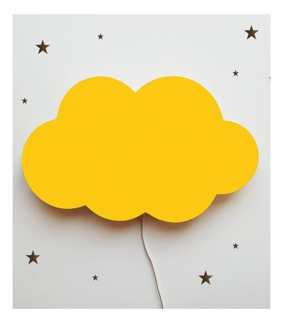 Drewniana lampka nocna - chmurka TOSIA żółta