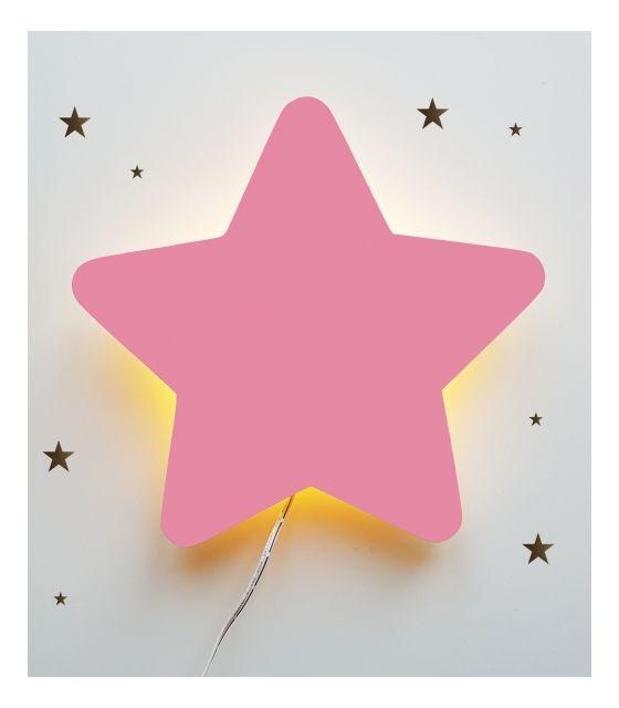 Drewniana lampka nocna - gwiazdka POLA pudrowy róż