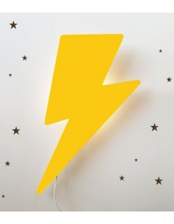 Drewniana lampka nocna - Piorun żółta