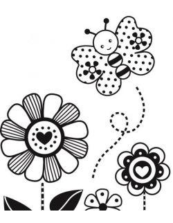 Stempel Kwiatki z Motylkiem