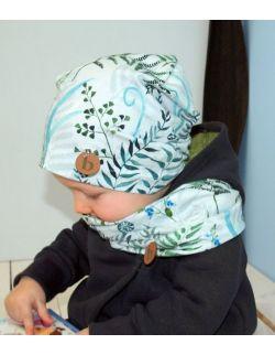 Dziecięca czapka i komin- kwiat paproci