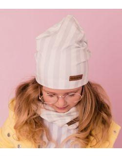 Dziecięca czapka z kominem - szare paski.