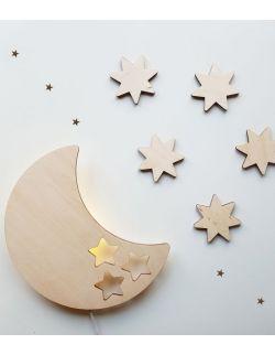 Drewniana lampka nocna - księżyc BOB + gwiazdki