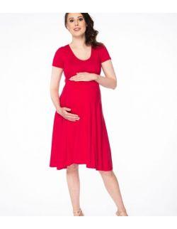 Sukienka ciążowa i do karmienia Mommy Chic karminowa