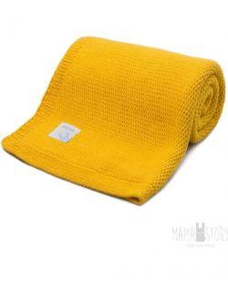 Kocyk dziecięcy żółty dziany 100x80