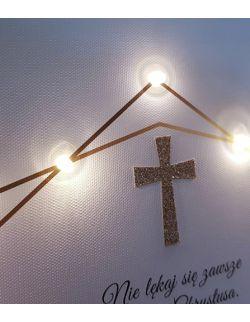 PAMIĄTKA CHRZTU obraz LED wieloryb pastelowy akwarela złoty krzyż prezent na chrzest chrzciny