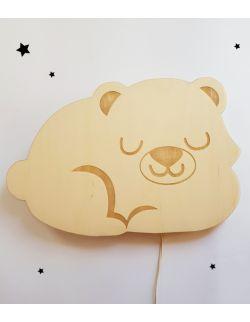 Drewniana lampka nocna - Śpiący miś