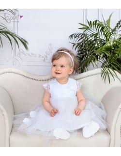 Sukienka do chrztu wizytowa Laura BIAŁA