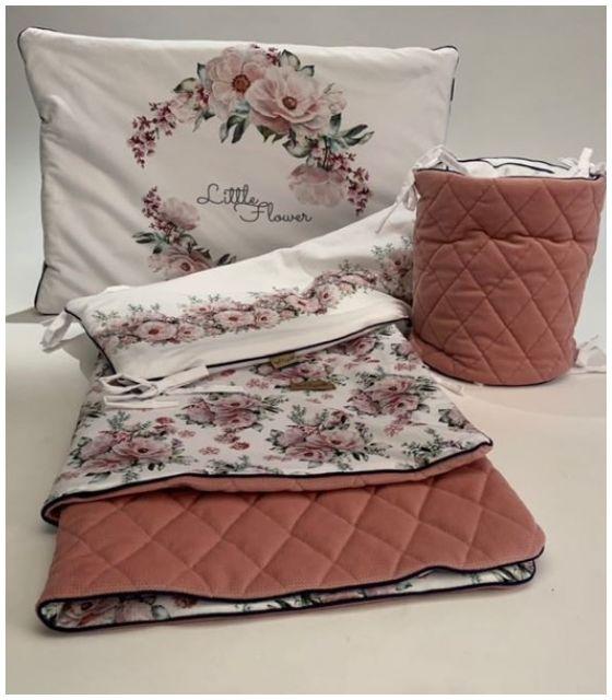 Komplet do łóżeczka LITTLE FLOWER - kocyk, poduszka, ochraniacz