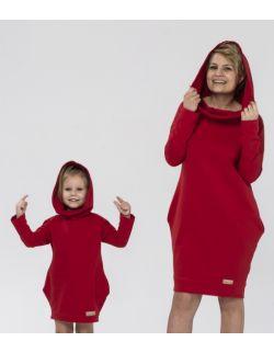 Zestaw tuniko-sukienek dla mamy i córki czerwień
