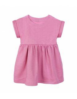 Sukienka z bawełny organicznej, z krótkim rękawem - różowa