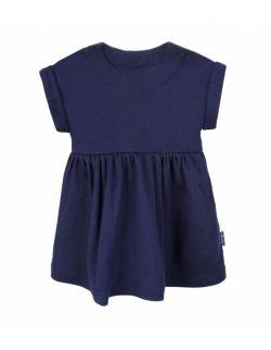 Sukienka z bawełny organicznej, z krótkim rękawem - granatowa
