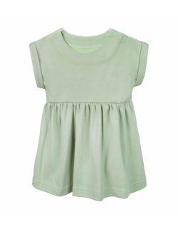 Sukienka z bawełny organicznej,  z krótkim rękawem - zielona