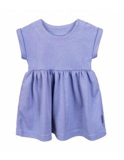 Sukienka z bawełny organicznej, z krótkim rękawem - niebieska