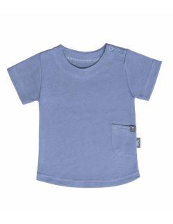 T-shirt z kieszonką - z bawełny organicznej - niebieski