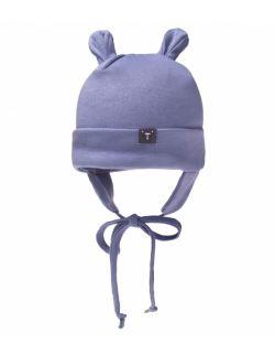 Czapka uszatka - z bawełny organicznej - niebieska