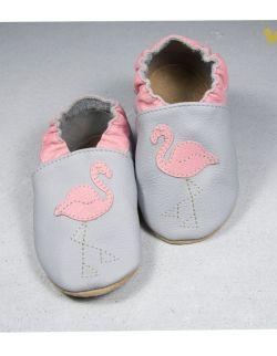 Kapciuszki różowe flamingi na szarym