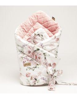 ROŻEK niemowlęcy 75x75 cm WIOSENNE KWIATY z Velvet smoky róż caro
