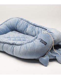 KOKON dwustronny VELVET pikowany kolor jasny jeans