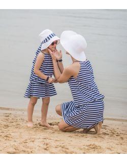 Komplet sukienek dla mamy i córki w paski