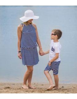 Komplet mama i syn w paski