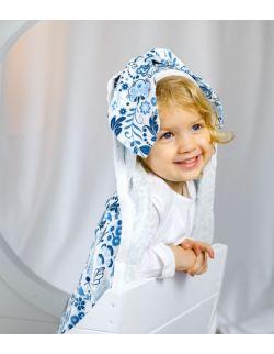 Ręcznik Otulacz bambusowy Jersey z kapturkiem i uszami 90×90 Kwiaty
