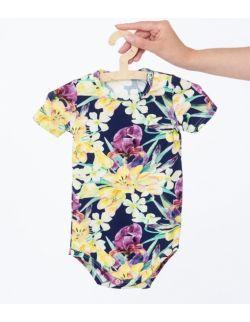 Body z krótkim rękawem w print w tropikalne kwiaty