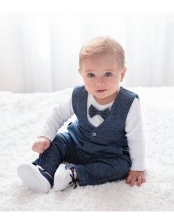 3cz komplet do chrztu dla chłopca Kubuś GRANATOWY