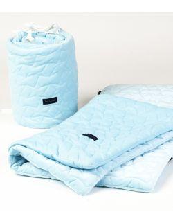 KOMPLET do łóżeczka Błękitny Velvet pikowane gwiazdki