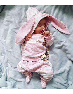 Dresik bluza i spodenki różowe paseczki króliczek