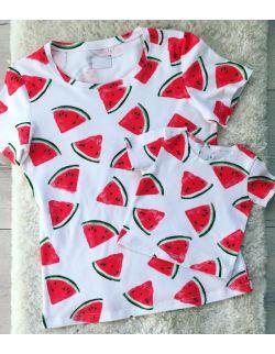zestaw koszulek w arbuzy dla mamy i dziecka libou
