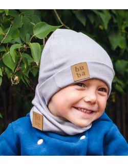 Jesienna czapka z kominem-szara