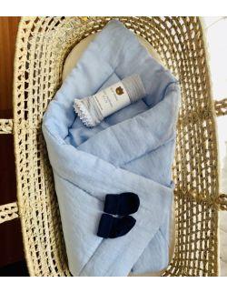 Lniany rożek Baby Dekor 100% len błękitny