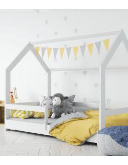 Białe łóżko domek z barierkami