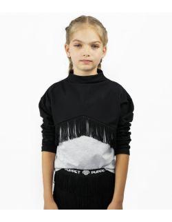 Bluza Dziewczęca z Frędzlami Black / Grey
