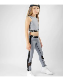 Szare Getry Dziecięce Sportowe - Legginsy Grey Logo Lycra